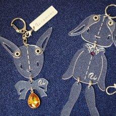 画像2: <値下げ>ウサギのフリフリバッグチャーム(ドールタイプ) <クリア色> (2)