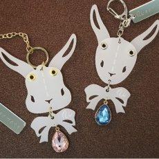 画像11: <値下げ>ウサギのフリフリバッグチャーム(フェイスリボン) <ミラー> (11)