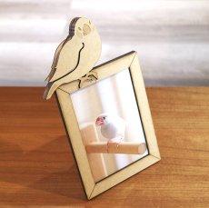 画像1: 文鳥のチャーム付き フォトフレーム Woody Line (1)