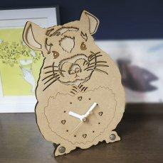 画像1: チンチラのシルエット時計<Woody Line> (1)