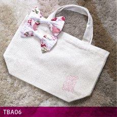 画像2: <在庫限り>ウサギ刺繍キャンバストート《06ダブルリボン/垂れ耳》 (2)
