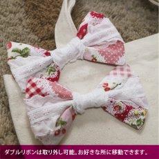 画像3: <在庫限り>ウサギ刺繍キャンバストート《06ダブルリボン/垂れ耳》 (3)