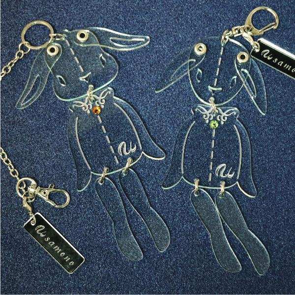 画像1: <値下げ>ウサギのフリフリバッグチャーム(ドールタイプ) <ガラス色> (1)
