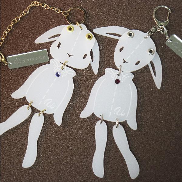 画像1: <値下げ>ウサギのフリフリバッグチャーム(ドールタイプ) <乳白色> (1)