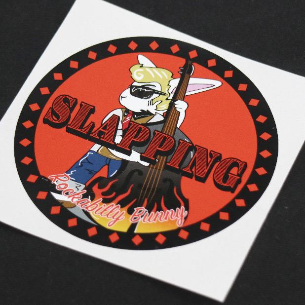 画像1: Rockabbily Bunnyステッカー 丸型 Himaman (1)