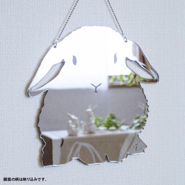 画像1: 壁掛シルエットミラー(うさぎたれ耳) 大 (1)