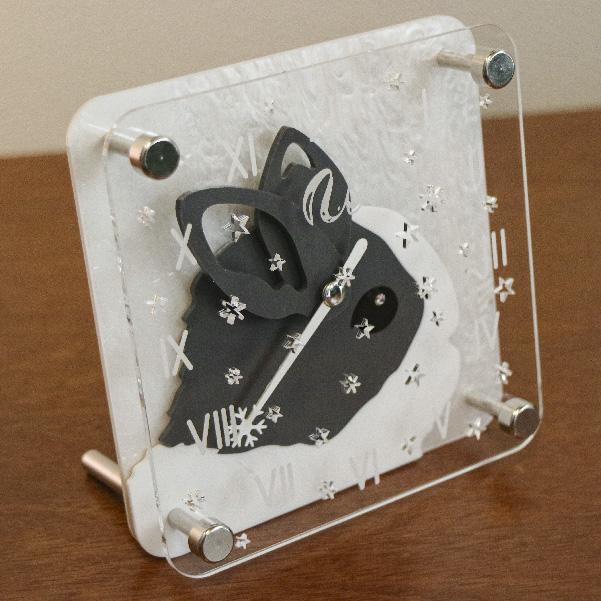 画像1: [限定予約販売]うさぎの時計<クリスマスデザイン>ミニタイプ ダッチ柄 (1)