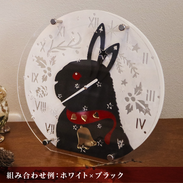画像1: [OUTLET]うさぎの時計<クリスマスデザイン>ラウンドタイプ (1)