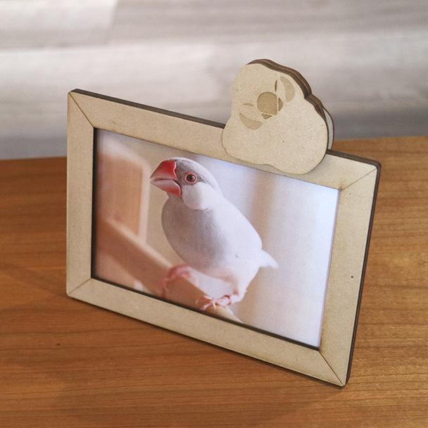 画像1: おもち文鳥のチャーム付き フォトフレーム Woody Line (1)