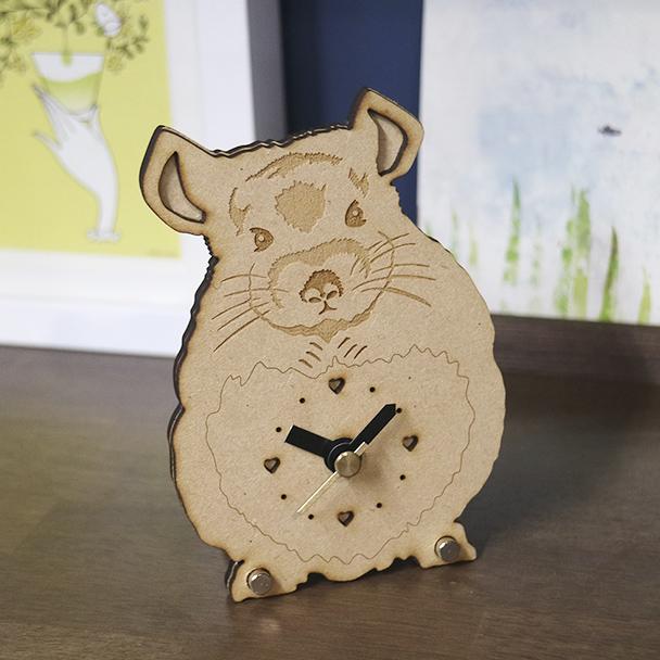 画像1: チンチラのシルエット時計<Woody Line>ミニ (1)