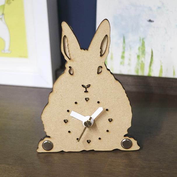 画像1: うさぎのシルエット時計(立ち耳)<Woody Line>ミニ (1)