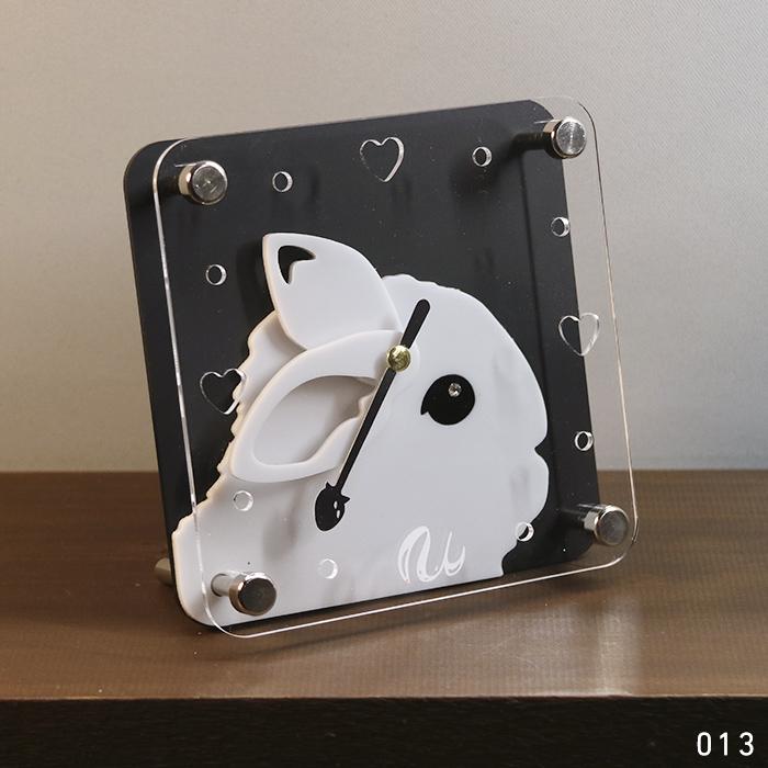 画像1: 【完成品】うさぎの時計<ミニフレーム> (1)