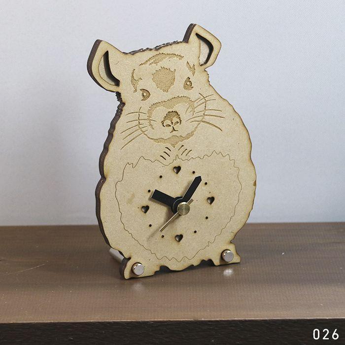 画像1: 【アウトレット】チンチラのシルエット時計Woodyline<ミニ> (1)