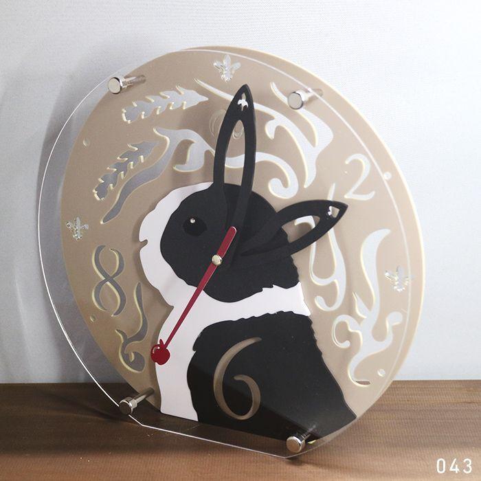 画像1: 【完成品】うさぎの時計<ラウンドタイプ>ダッチ (1)