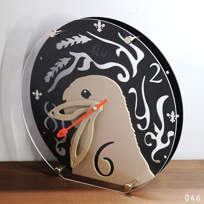 画像1: 【完成品】うさぎの時計<ラウンドタイプ> (1)
