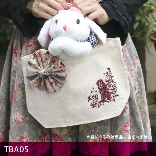 画像1: <在庫限り>ウサギ刺繍キャンバストート《05コサージュ/垂れ耳》 (1)