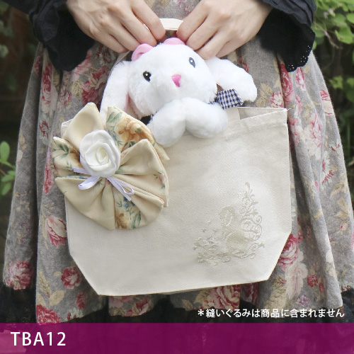 画像1: <在庫限り>ウサギ刺繍キャンバストート《12ビッグコサージュ/垂れ耳》【送料無料】 (1)
